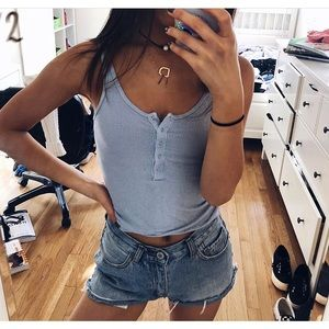 Brandy Melville blue crop top buttons fits small